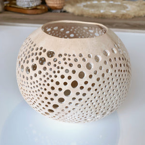 Coconut Candle Holder ~ Polka Dots