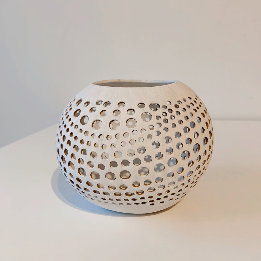 Coconut Candle Holder ~ Organic Dots ~ White