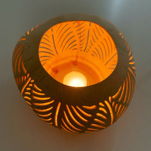 Coconut Candle Holder ~ Palm Leaf ~ Natural