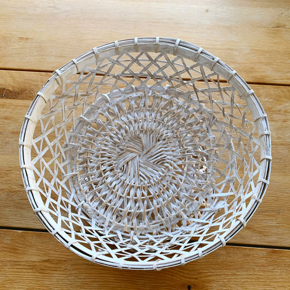 Load image into Gallery viewer, Dulang Rattan Bowl, Whitewash