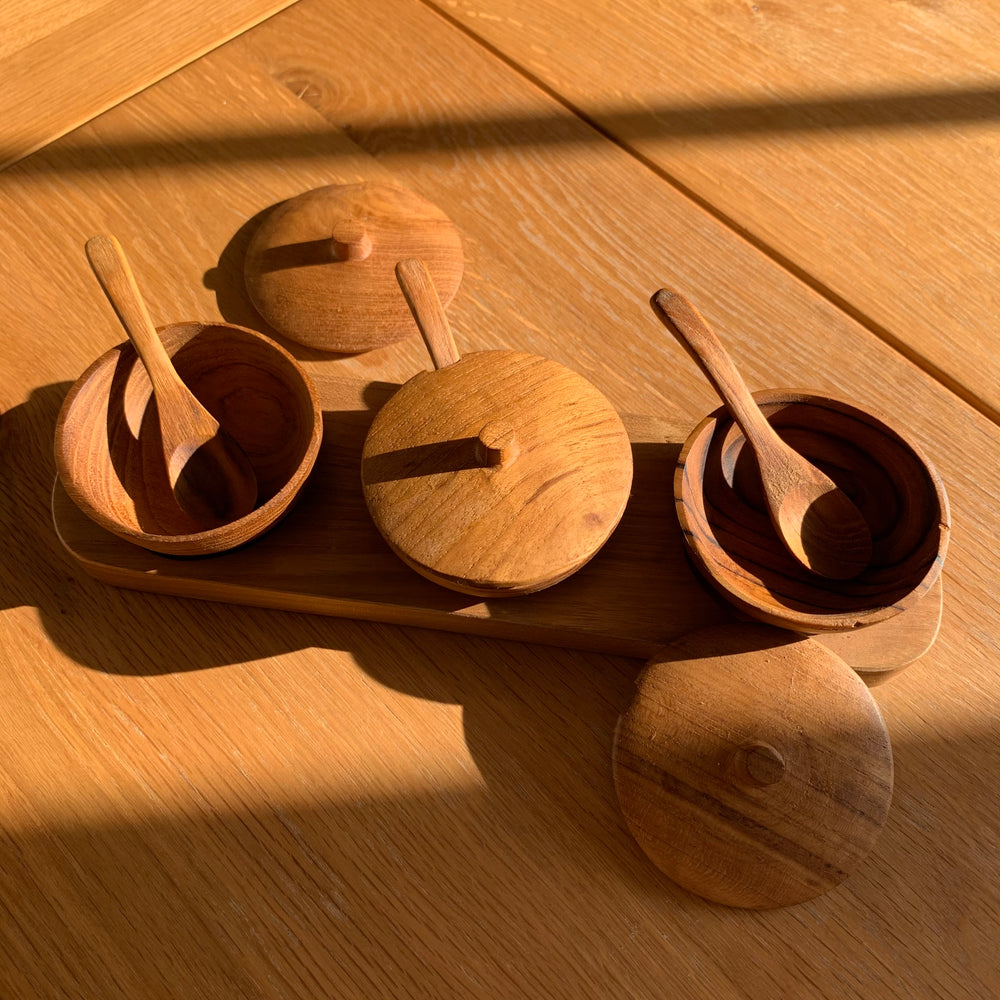 Spice Bowl Set ~ Teak Wood