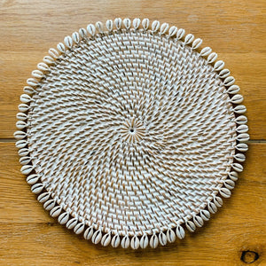Shell Rattan Whitewash Placemat