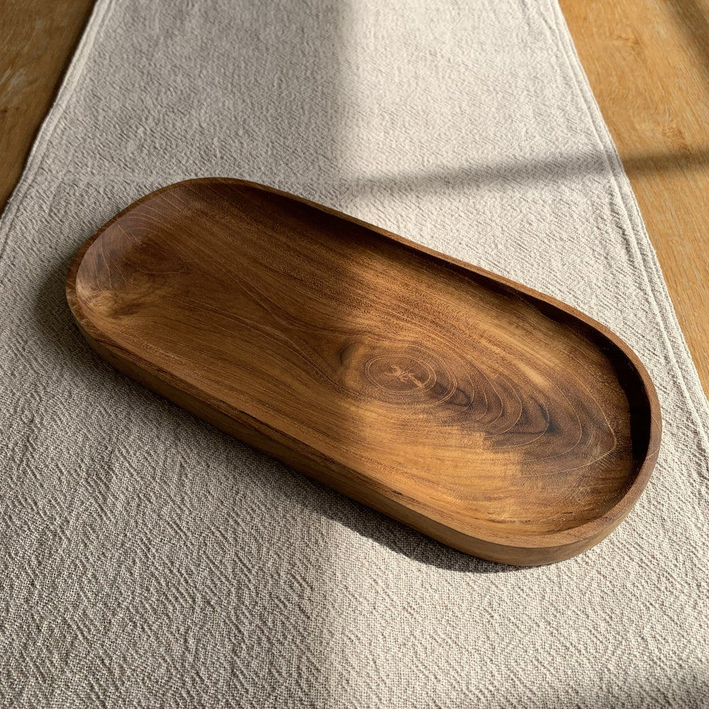 Load image into Gallery viewer, Wood Teak Oval Tray