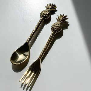 Load image into Gallery viewer, Brass Pineapple Fork Teaspoon