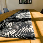 Table Runner ~ Palm Leaf Print / Black on reverse