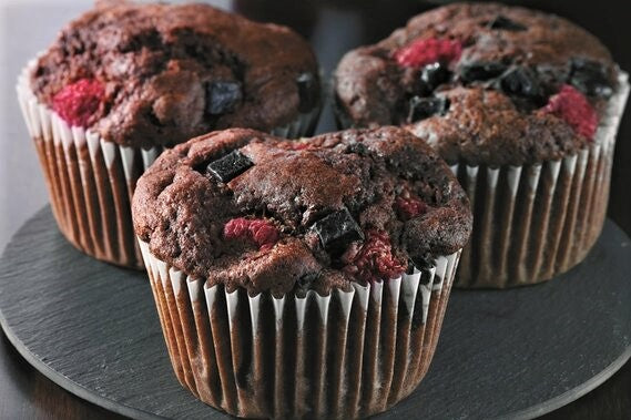 Raspberry & Chocolate Brownie Muffins