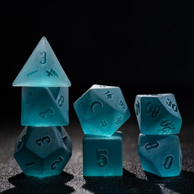 7 piece Aquatic Frost Embossed Dice Set Mythroll Armory 7pcs set