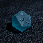 7 piece Aquatic Frost Embossed Dice Set Mythroll Armory D20