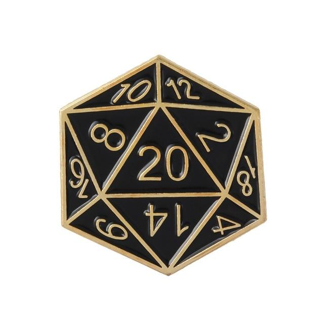 D20 enamel pins Mythroll Armory gold