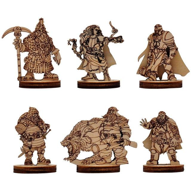 Fantasy Miniatures Wood Laser Cut Figures 6PCS (28mm) Mythroll Armory Style3