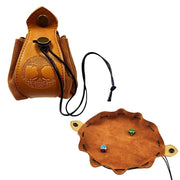 Portable Genuine Leather Drawstring Pouch Dice Bag and Tray Mythroll Armory