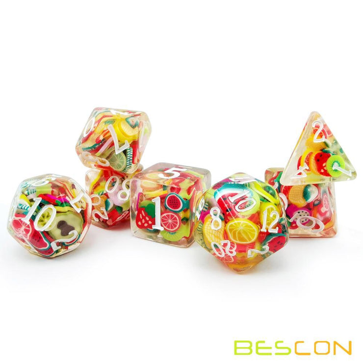 Set of 7 Fruity Polyhedral Dice Mythroll Armory