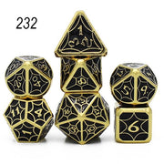 Set of 7 Webbed Metal Dice and Dice Pouch Mythroll Armory 232