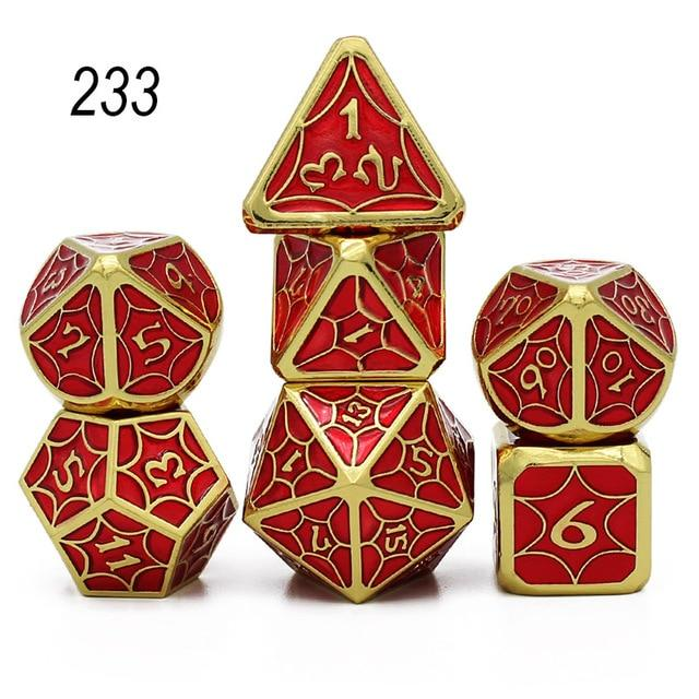 Set of 7 Webbed Metal Dice and Dice Pouch Mythroll Armory 233