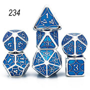 Set of 7 Webbed Metal Dice and Dice Pouch Mythroll Armory 234