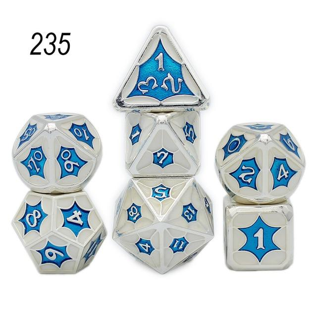 Set of 7 Webbed Metal Dice and Dice Pouch Mythroll Armory 235