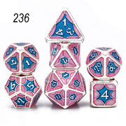 Set of 7 Webbed Metal Dice and Dice Pouch Mythroll Armory 236