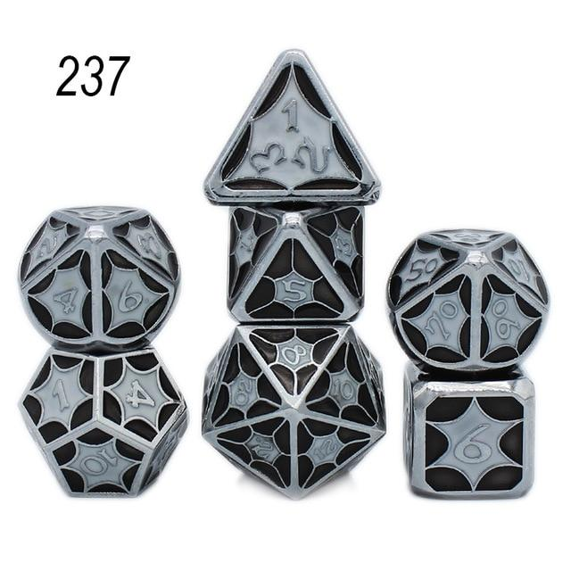 Set of 7 Webbed Metal Dice and Dice Pouch Mythroll Armory 237