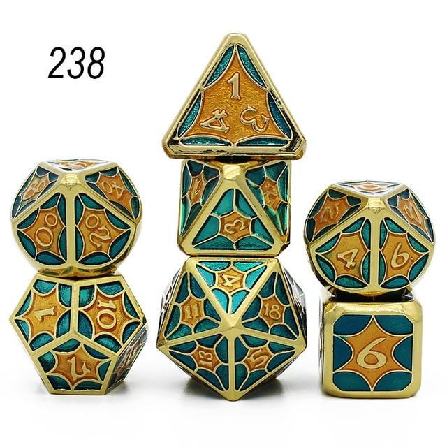 Set of 7 Webbed Metal Dice and Dice Pouch Mythroll Armory 238