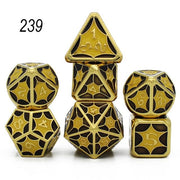 Set of 7 Webbed Metal Dice and Dice Pouch Mythroll Armory 239