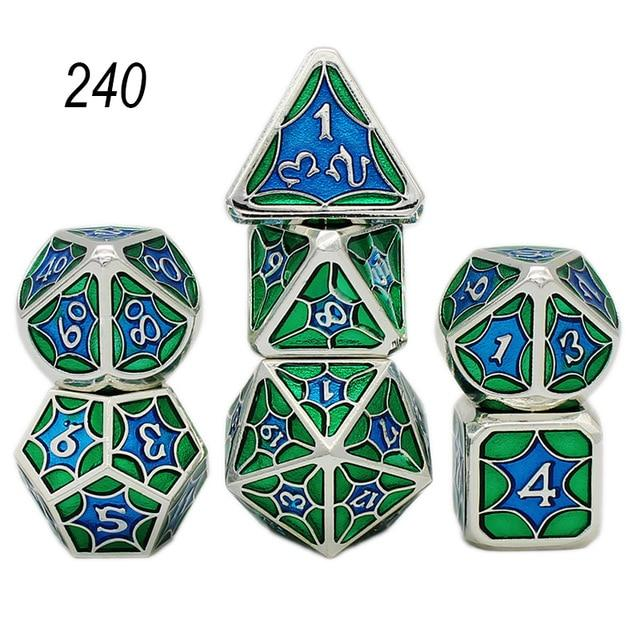 Set of 7 Webbed Metal Dice and Dice Pouch Mythroll Armory 240
