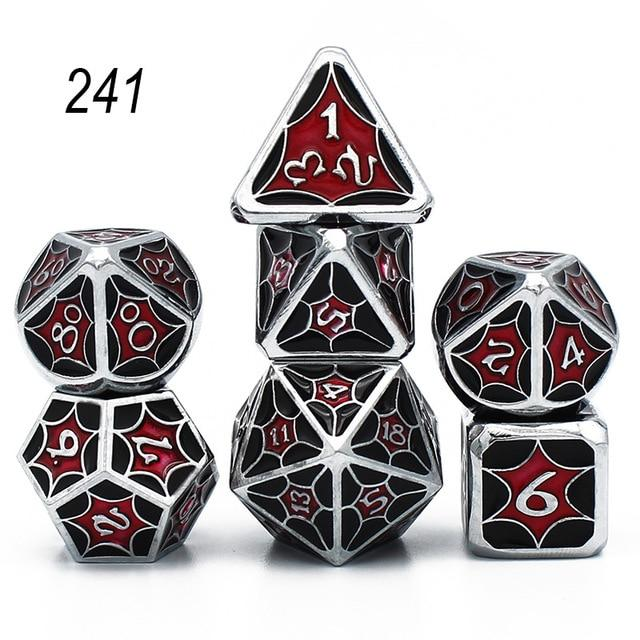 Set of 7 Webbed Metal Dice and Dice Pouch Mythroll Armory 241