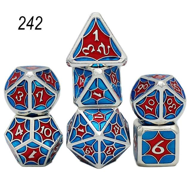 Set of 7 Webbed Metal Dice and Dice Pouch Mythroll Armory 242