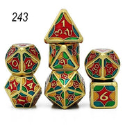 Set of 7 Webbed Metal Dice and Dice Pouch Mythroll Armory 243