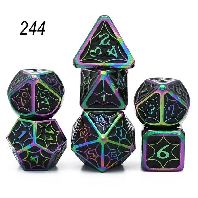 Set of 7 Webbed Metal Dice and Dice Pouch Mythroll Armory 244
