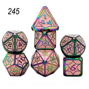 Set of 7 Webbed Metal Dice and Dice Pouch Mythroll Armory 245