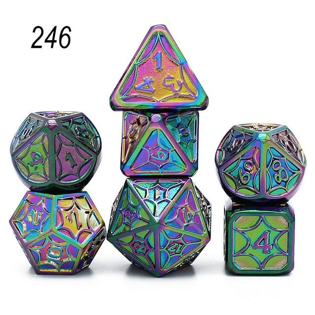 Set of 7 Webbed Metal Dice and Dice Pouch Mythroll Armory 246
