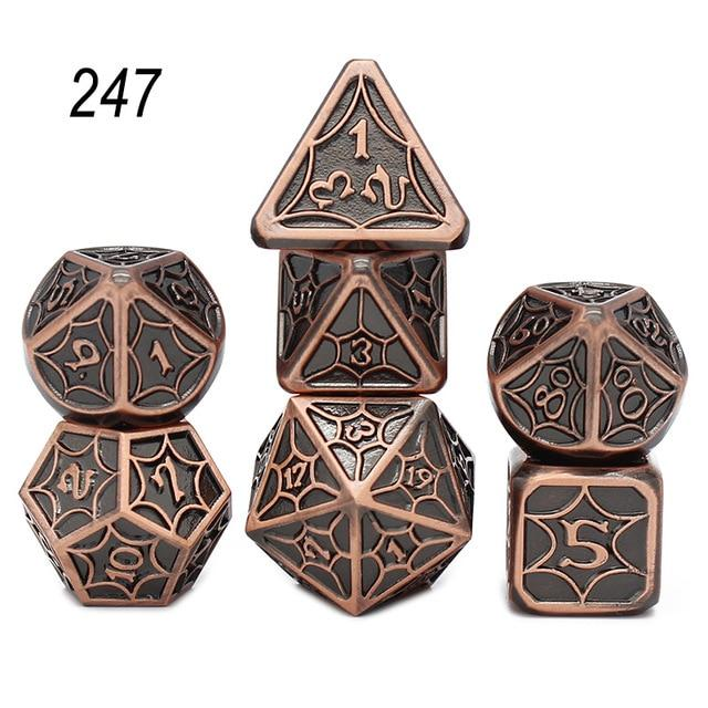 Set of 7 Webbed Metal Dice and Dice Pouch Mythroll Armory 247