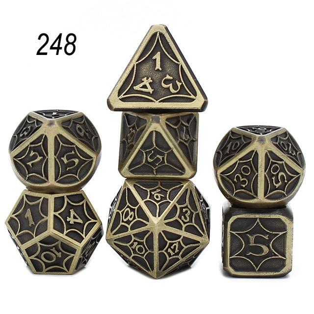 Set of 7 Webbed Metal Dice and Dice Pouch Mythroll Armory 248