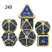 Set of 7 Webbed Metal Dice and Dice Pouch Mythroll Armory 249