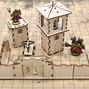 Watchtower for Tabletop Gaming with 2 flat Archer Miniatures - Laser Cut Wooden Terrain Mythroll Armory