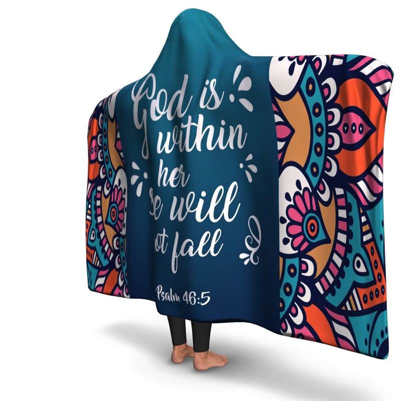 Christian Hooded Blanket - God Is Within Her, Scripture and Quotes Outdoor Blanket, Festival and Couch Blanket - GnWarriors Clothing
