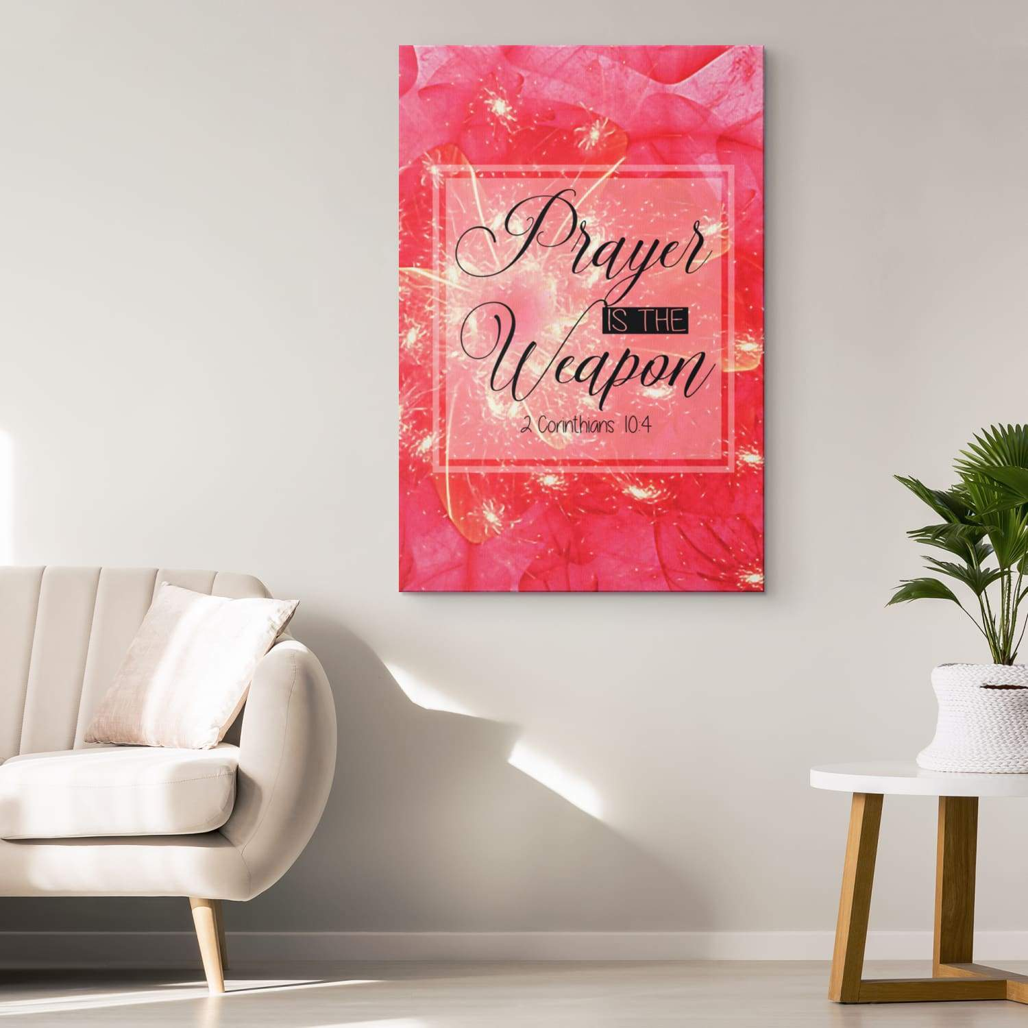 2 Corinthians 10:4 Prayer is the weapon canvas wall art - GnWarriors Clothing