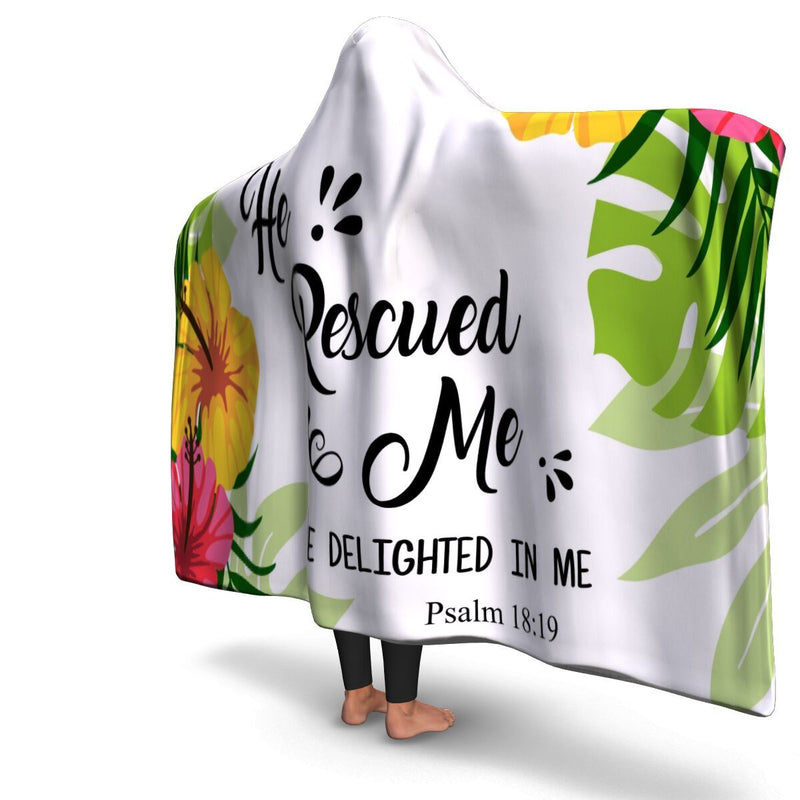Christian Hooded Blanket - He Rescued Me, Scripture and Quotes Outdoor Blanket, Festival and Couch Blanket - GnWarriors Clothing