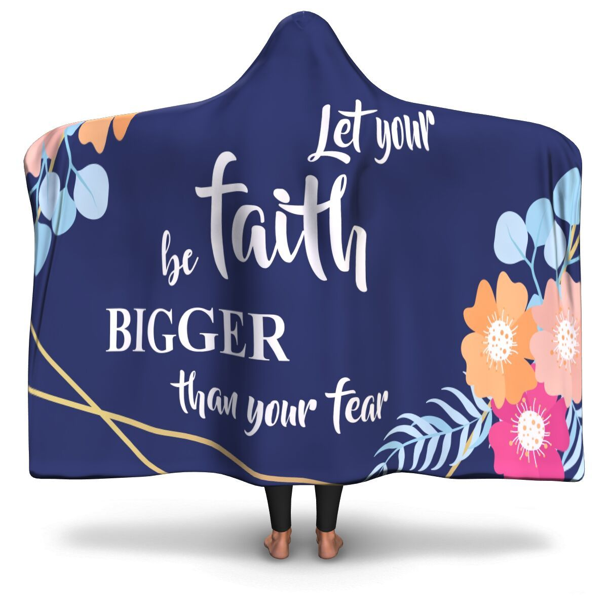 Christian Hooded Blanket - Let Your Faith Be Bigger Than Your Fear, Scripture and Quotes Outdoor Blanket - GnWarriors Clothing