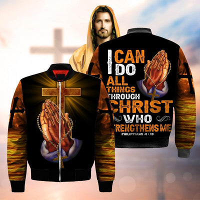 3D Christian Clothing God Hand Cross - Philipians 4:13 - I can do all things through Christ who strengthens me