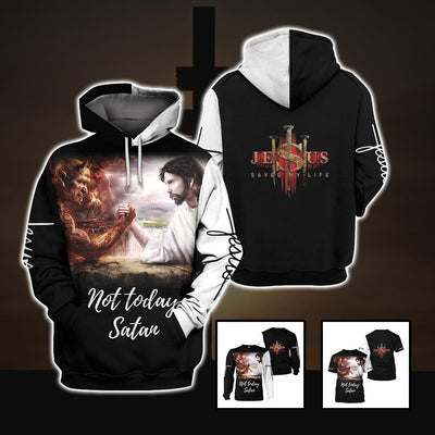 3D Christian Hoodie, Sweatshirt, T-Shirt - Not today Satan