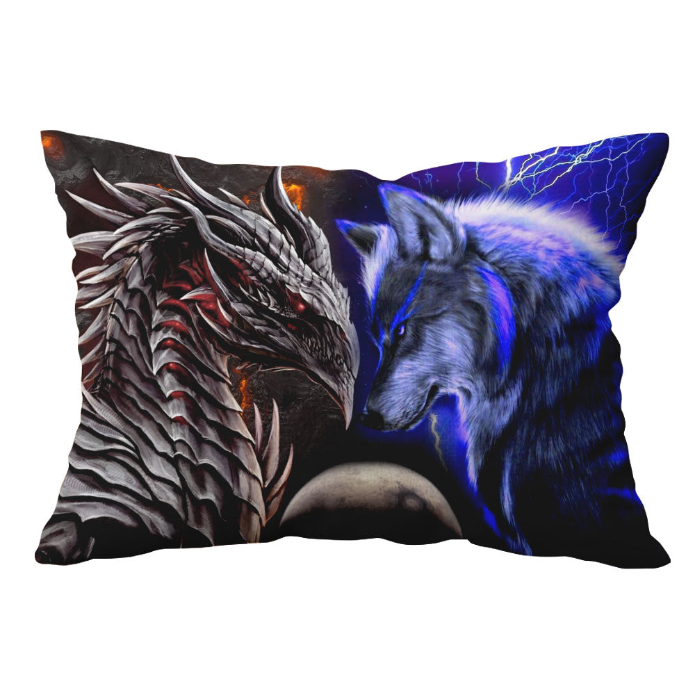 3D Pillow Case - Mysterious - Dragon And Wolf