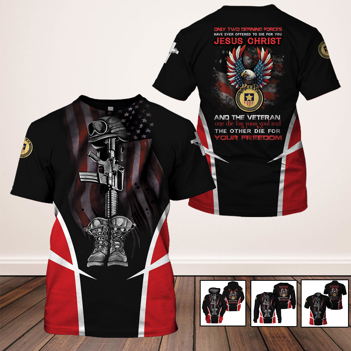 3D Full Print Apparel - Jesus Christ and The Veteran