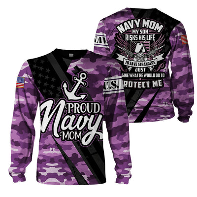 Purple Camouflage Proud Navy Mom Hoodie, Pullover, Polo, or T-shirt