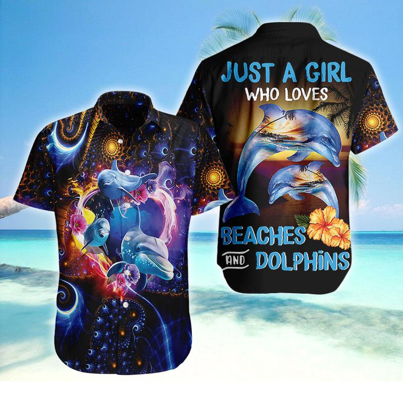 Hawaiian Shirt - I love Dolphins