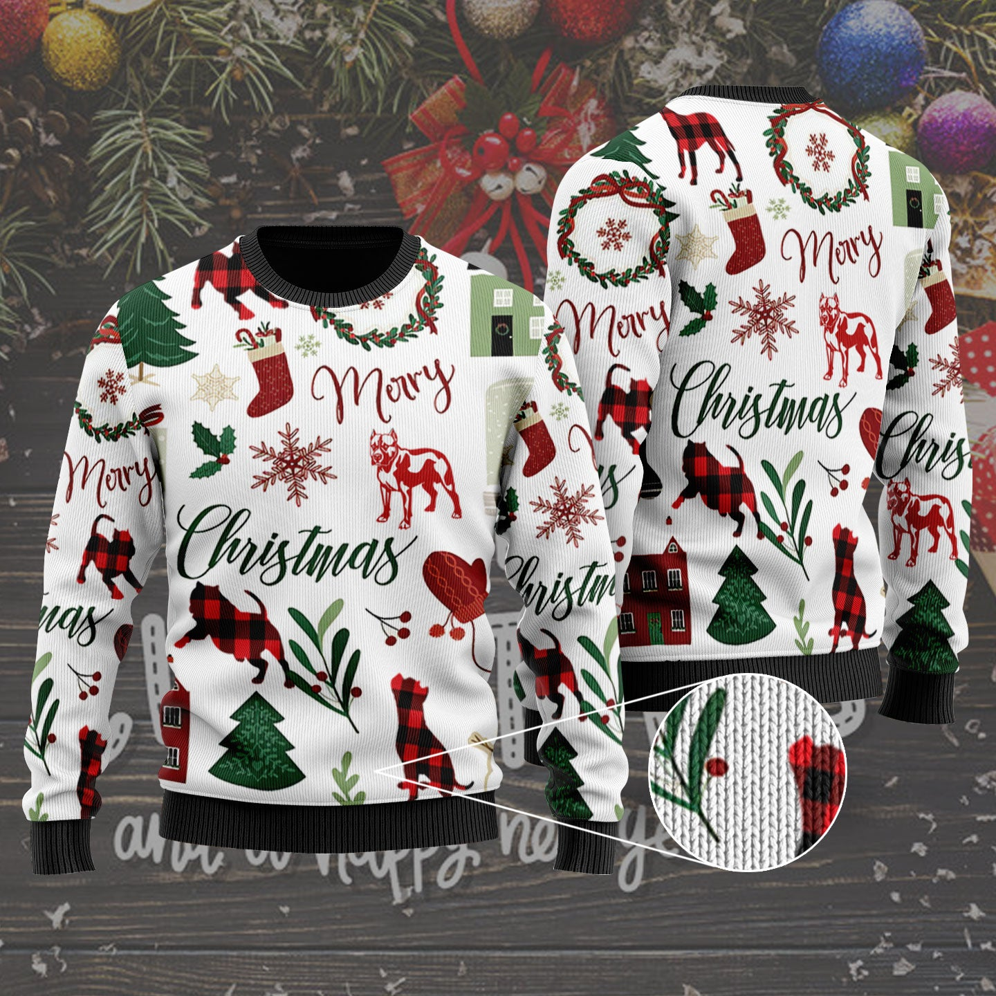 3d Apparel - Ugly Sweater - Merry Christmas - Pitbull