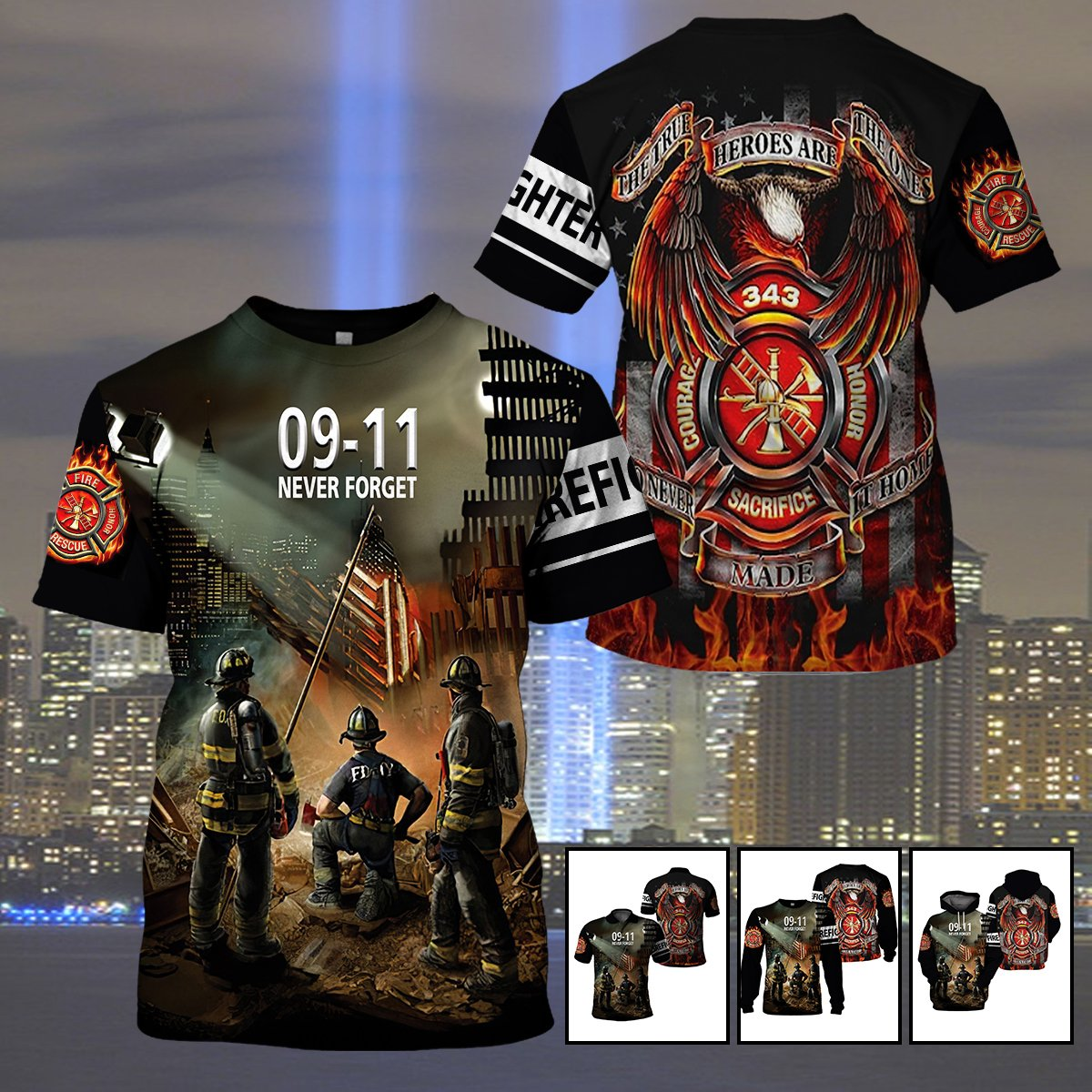 U.S Firefighters - Never forget 09/11 - 343 Our Fallen Heroes - 4zOutfitters Merchandise