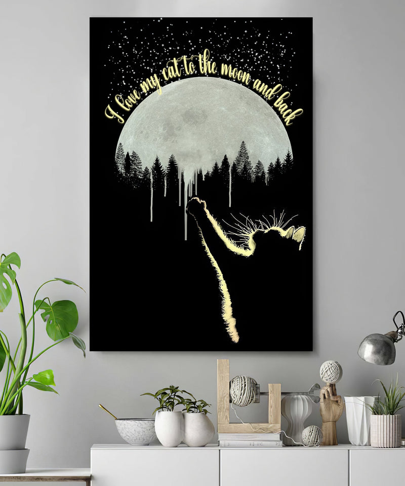 3D Canvas - I love my cat to the moon and back - 4zOutfitters Merchandise