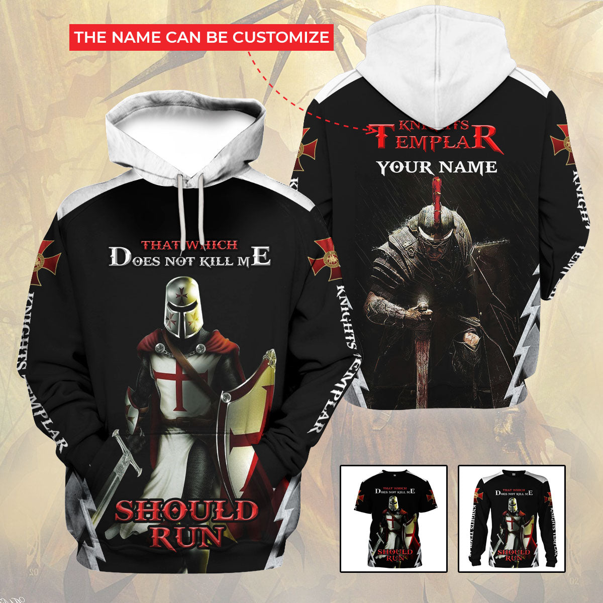 3D Knights Templar Hoodie - What which does not kill me should run