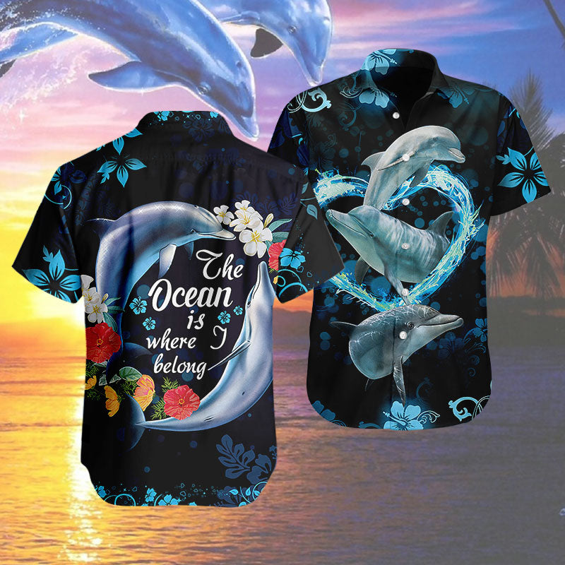 Hawaiian Shirt -Dolphins- The ocean is where i belong